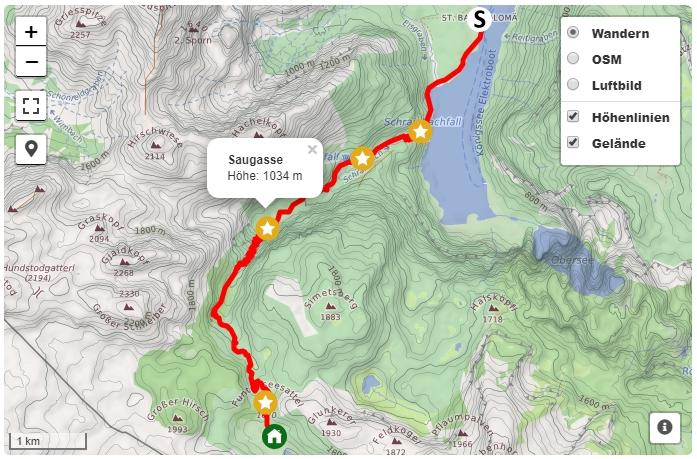 Alpenüberquerung von Berchtesgaden nach Lienz - Karte